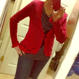 SOLD----- Beautiful candy red cardigan