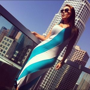 Stripe Aqua Dress