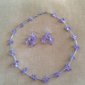 Jewelry - Amethyst and silver link necklace and earrings