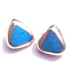 """3/4"""" Sterling Silver Turquoise Post Earrings"""