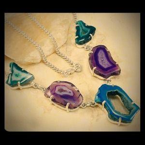 .925 Freeform Geode Drusy Druzy Agate SS Necklace