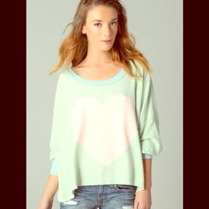 Wildfox Sweaters - Wildfox Couture pink heart Nevada mint sweatshirt