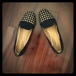 Shoes - Black flats with studs