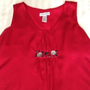 Tops - Reduced!  Dressy red top with decorative stones.