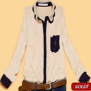 Tops - 🚫SOLD🚫 Beige Scallop Collar Long Sleeve Shirt