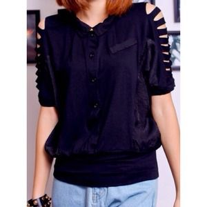 Tops - 🚫SOLD🚫Black Lapel Short Sleeve Batwing Shirt