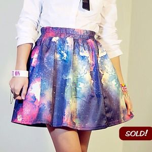 Dresses & Skirts - 🚫SOLD!🚫Starry Sky Print High Waist Pleated Skirt