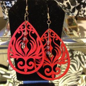 Hot hot hot laser cut wood earrings.