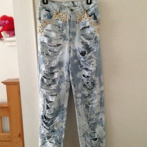 Custom distressed jeans