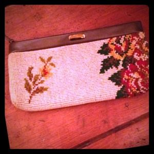 Vintage Flirty Floral Needlepoint Clutch