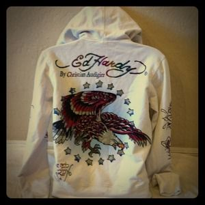 Cute Ed hardy rhinestone foil jacket