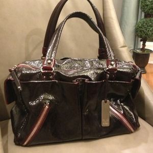 Botkier Black and Bordeaux Patent Satchel