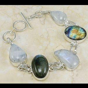 .925 Genuine Labradorite,Moonstone Bracelet - NWOT