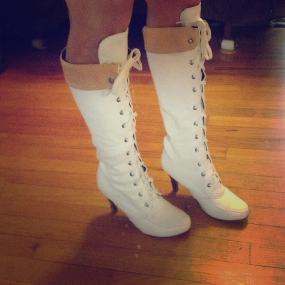 44 boots lace up white knee high boots from
