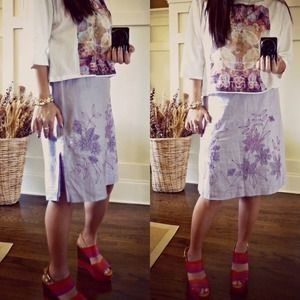 Ann Taylor Dresses & Skirts - ⬇️✨Ann Taylor purple embroidery linen skirt