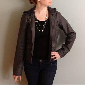 Gray faux leather jacket w/ detachable fleece hood