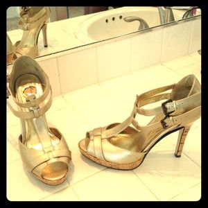 Gold open toe heels 4 inch two ankle straps