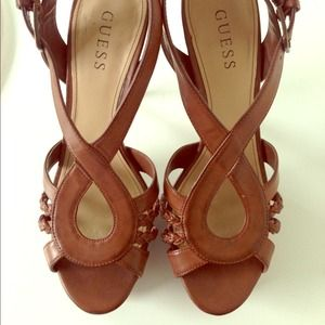 68% off Guess Shoes - Guess Cognac Strappy Heels from Krista&39s