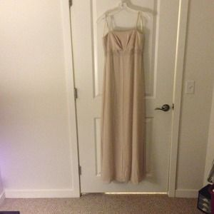Long Beige beaded dress