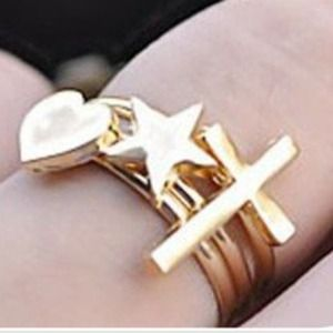 Jewelry - Cross heart and star ring