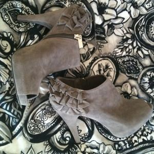 Gray, ruffle back, peep-toe booties