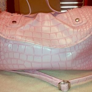 Large pink faux croc bag