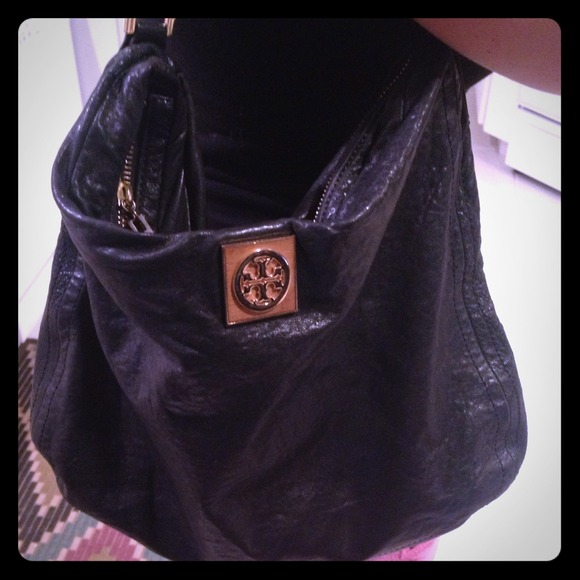 9d2d0eb82c2f Tory Burch Black Leather Hobo with Gold Straps