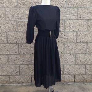 Vintage Classic Black Sheer Pleated Dress
