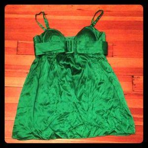 Designer Single Dress Emerald Green Silk Prom