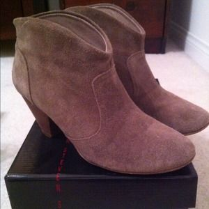 Taupe booties w/box