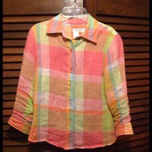 rainbow coldwater creek linen shirt