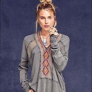 Free People Beaded Tunic Center Top Small