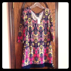 Short polyester paisley print dress