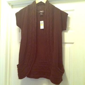 New! Brown open front sweater w/pockets