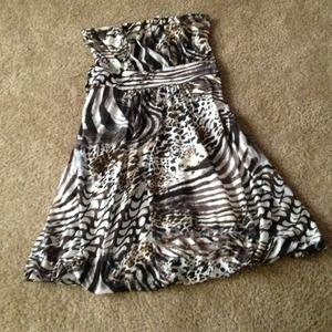 American Rag Strapless Animal Print Dress