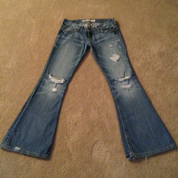 58% off Hollister Denim - Distressed Hollister Baja Super Flare ...