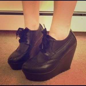 Shoes - Black Oxford Wedges