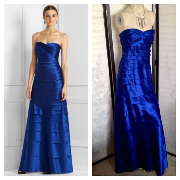 BCBGMaxAzria Dresses | Bcbg Max Azria Satin Long Strapless Blue Gown ...