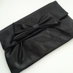 Clutches & Wallets - REDUCED: Large Black Bow Clutch
