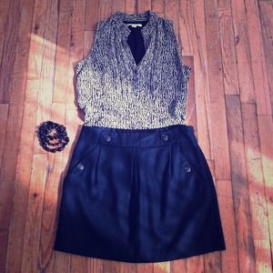NWOT Black Wool Mini Skirt