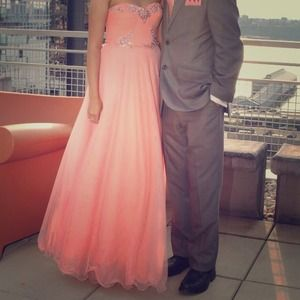 Adrianna Papell coral pink tulle prom dress