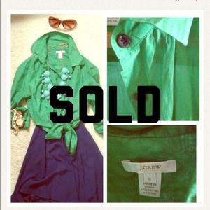 J. Crew Tops - SOLD Jcrew Kelly green silk button down