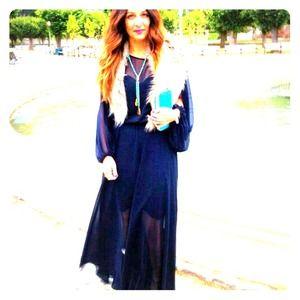 Navy blue  sheer maxi dress by Shareen