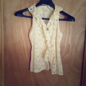 Banana Republic lace ruffle blouse