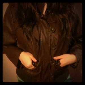 Brown flight jacket with zipper and buttons