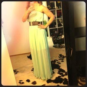 Strapless chiffon seafoam green dress with belt M