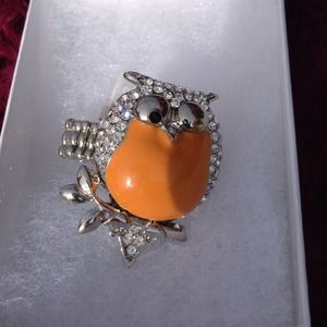 Orange Owl Ring with Rhinestones-stretchy