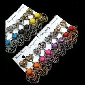Jewelry - 💜Colored Stone Heart Earrings $4.00 each 💜