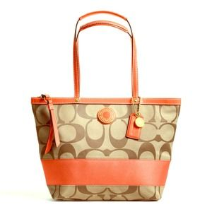 👜👜NWT Authentic Coach Sig Khaki/Persimmon Purse