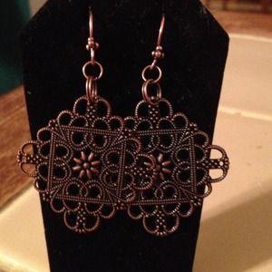 Copper square dangle earrings